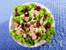 Рецепта Зелена салата с пиле, череши, фета сирене и меден дресинг с хрян